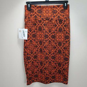 Lularoe Cassie XS orange navy black Skirt